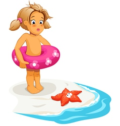 Baby girl and starfish on beach vector image