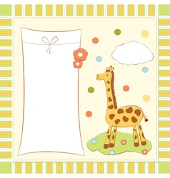 bagreeting card with giraffe vector image