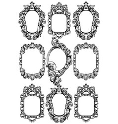 Baroque mirror frame imperial decor design vector