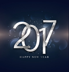 beautiful 2017 happy new year design in silver vector image