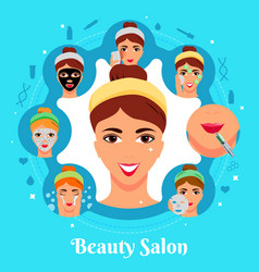 Beauty salon cosmetic procedures composition vector