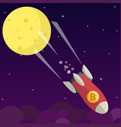 bitcoin falls down from the moon vector image
