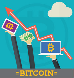 bitcoin growth on cryptocurrency markets concept vector image