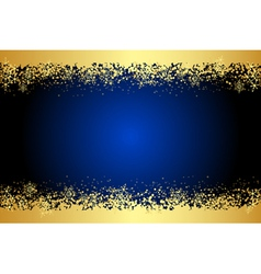 Blue frame with gold snowflakes vector