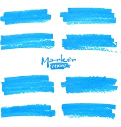 Blue marker stains set vector