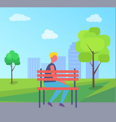 boy sitting alone on bench city park tree vector image