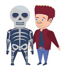 Boys with halloween skull and frankenstein vector