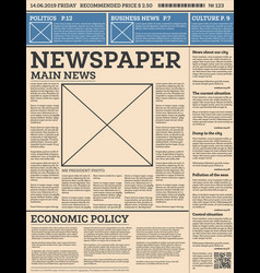 business daily newspaper template with one page vector image