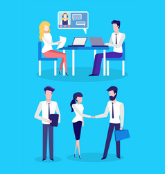 call center office workers online support or help vector image