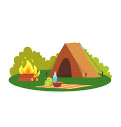 camping place nature environment tent and bonfire vector image