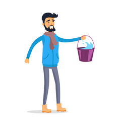 Cartoon man with bucket of water isolated on white vector