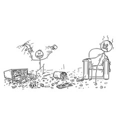 Cartoon of naughty little boy doing mess vector
