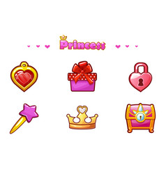 cartoon set princess icons girlish game assets vector image