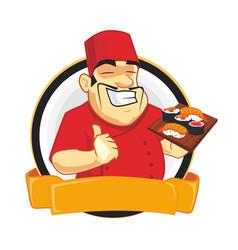 chef chinese mascot cartoon vector image