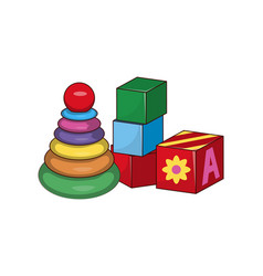 Children s pyramid cubes first baby constructors vector