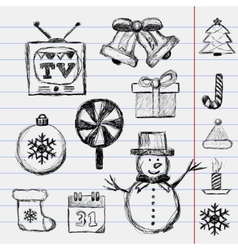 Christmas Drawn sketch vector image vector image