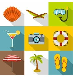 Coast icons set flat style vector