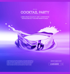 cocktails drinks cocktail with splashes and lemon vector image