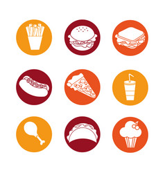 Color fast food background icon vector