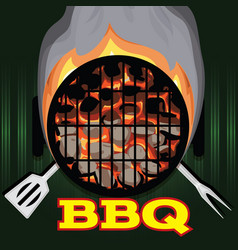 color template with barbecue picnic vector image