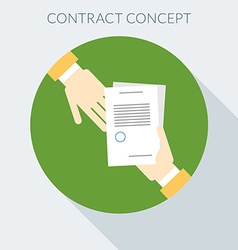 Contract concept Hand giving document to other vector