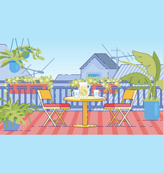 cottage house comfortable balcony flat vector image