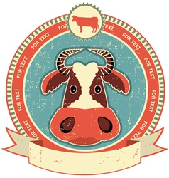 Cow head label vector