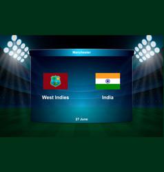 cricket scoreboard broadcast graphic template vector image