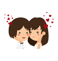 Cute couple just married with heart vector