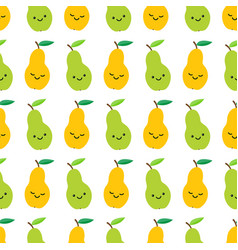 cute pears seamless pattern in cartoon style vector image