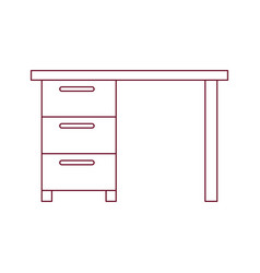 Dark red line contour of wooden office desk with vector