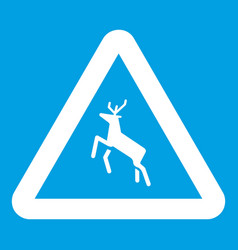 Deer traffic warning sign icon white vector