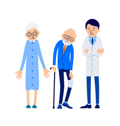 Doctor and patient elderly man with pain leg vector