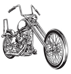 Drawn and inked vintage american chopper motor vector
