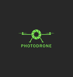 Drone logo flat style green flying copter with vector