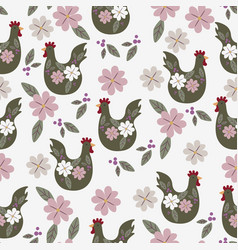 Easter seamless pattern with chicken vector