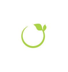 eco green recycling circle icon with leaf vector image