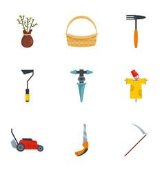 farm icon set flat style vector image