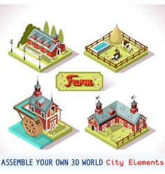 Farm Tiles 01 Set Isometric vector image