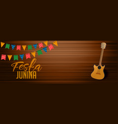 festa junina wooden banner with gutar element vector image