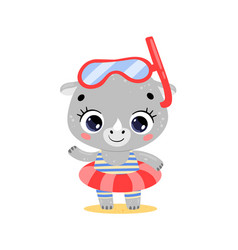 Flat cute cartoon summer rhino vector