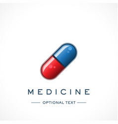 Glossy pill design logo template and text vector