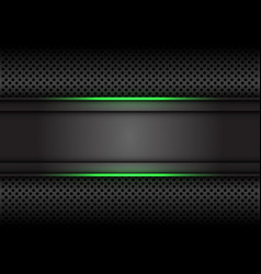 Green light line dark grey banner on circle mesh vector