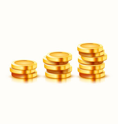 Growing stack golden coins isolated on white vector