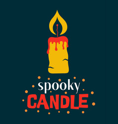 halloween with cute candle and lettering vector image
