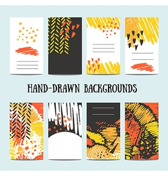 Hand drawn 8 cards with trendy textures and vector image