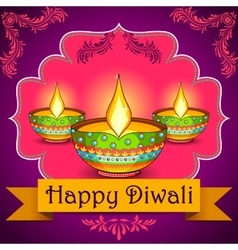 Happy Diwali background with diya vector