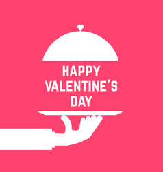 Happy valentine day like serving hand vector