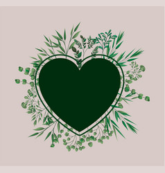 heart frame with laurel leafs vector image