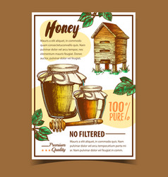 Honey in bottles and dipper stick poster vector